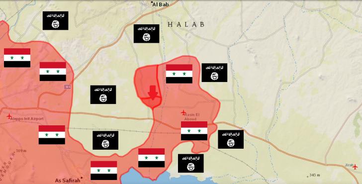 Обзор карты боевых действий Алеппо Сирия 26 01 2016