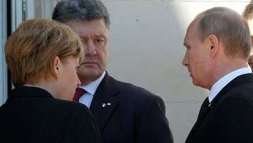 Ангела Меркель, Владимир Путин и Петр Порошенко на мероприятии по случаю 70-летия высадки союзников в Нормандии