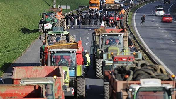 Французские фермеры во время протестов