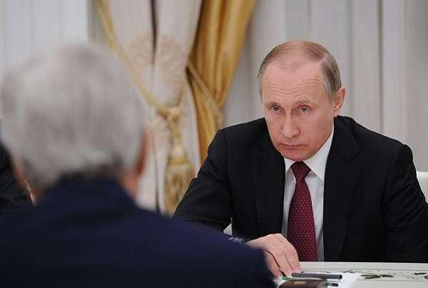 Встреча Владимира Путина с Лавровым и Керри началась в Кремле
