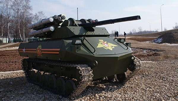 Стрельбу первого российского боевого робота «Уран-9» сняли на видео