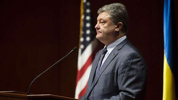 Президент Украины Петр Порошенко во время выступления на форуме Борьба Украины за свободу продолжается в Вашингтоне. Архивное фото