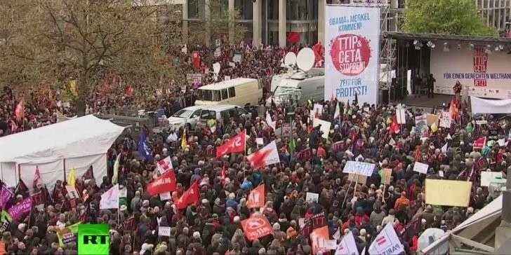 Жители Германии активно выступили против торгового соглашения ЕС-США
