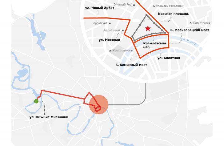 Какие улицы перекроют в Москве из-за репетиции парада Победы
