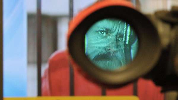Монитор транслирует изображение Виктора Бута, архивное фото
