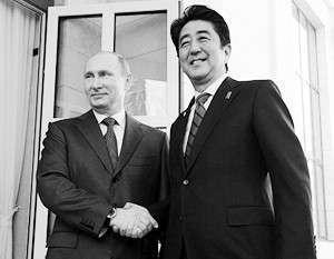 8 февраля 2014 г., олимпийский Сочи, встреча Путина и Абэ