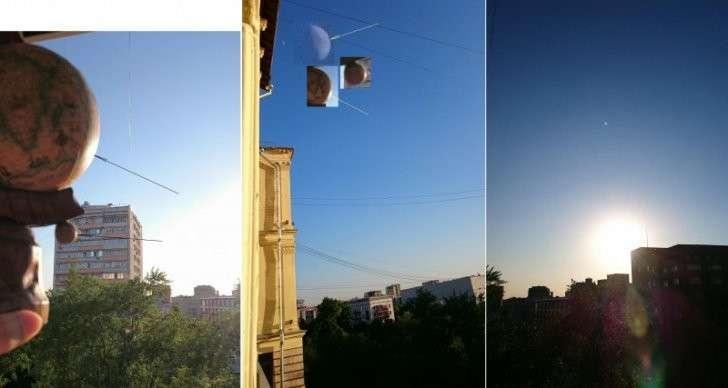 Блики от Солнца на Луне и на глобусе