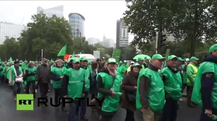 Работники госсектора бастуют в Бельгии — прямая трансляция