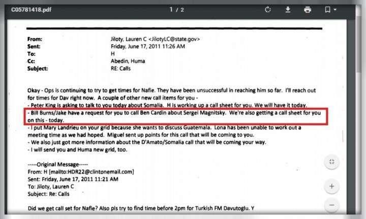 Расследование: Клинтон получила деньги Браудера за лоббирование акта Магнитского