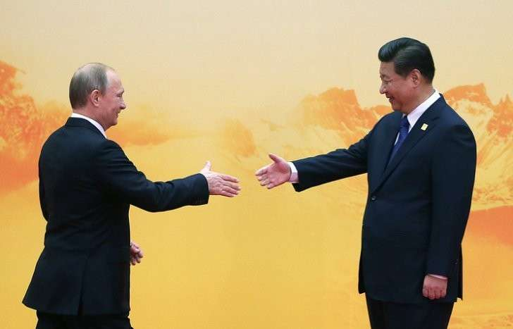 Председатель КНР Си Цзиньпин и президент России Владимир Путин, Пекин, 2014 год