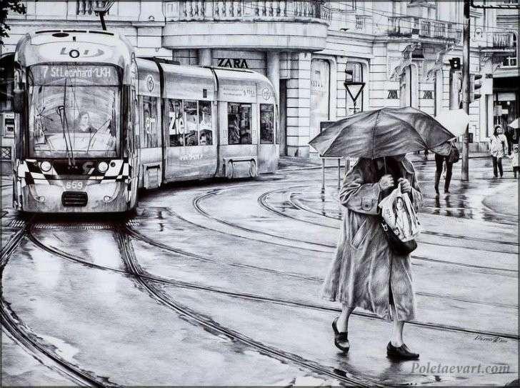 Реалистичные рисунки Андрея Полетаева. Шариковая ручка