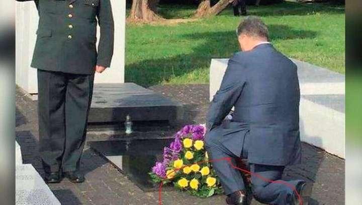 Хмурый жлоб Порошенко приехал в Европу в дырявых носках