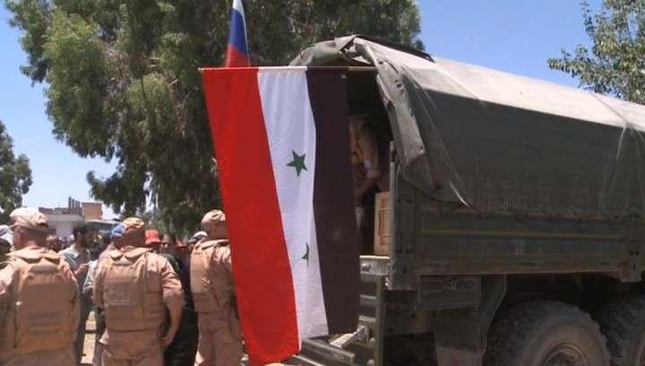 Российские военные доставили гумпомощь в прифронтовое сирийское село Аль-Мханная