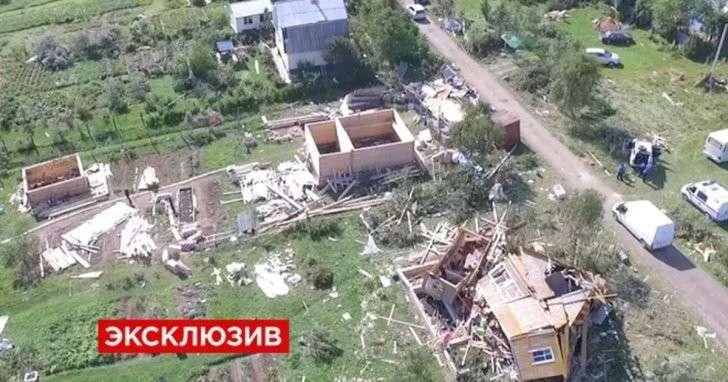 Последствия разрушительного урагана в Подмосковье — видео с коптера
