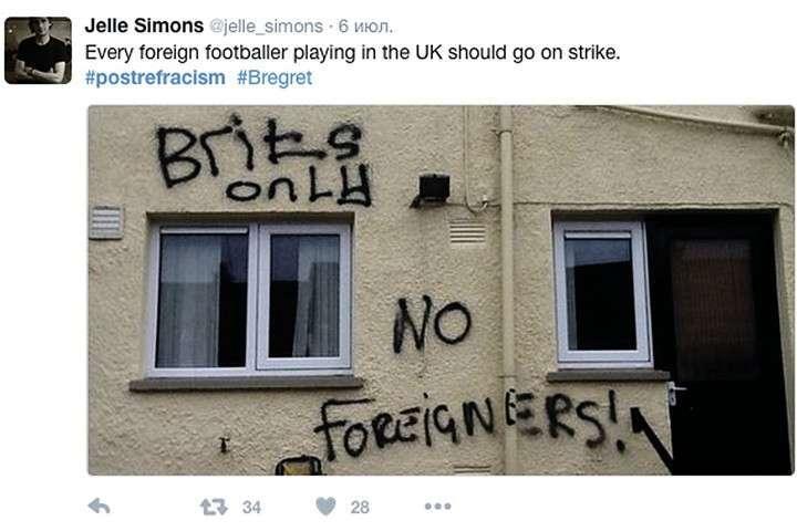 А такое раньше на Альбионе вообще было трудно представить. Дома, где живут приезжие из других стран, исчерчены лозунгами: «Только для британцев, не для иностранцев!» Фото: twitter.com