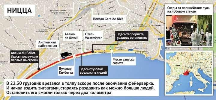 Как произошел теракт в Ницце: схема Фото: Наиль ВАЛИУЛИН
