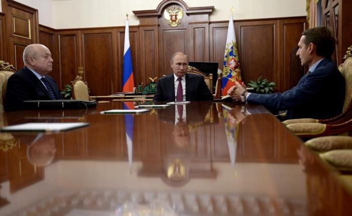 Встреча Владимира Путина с Сергеем Нарышкиным и Михаилом Фрадковым