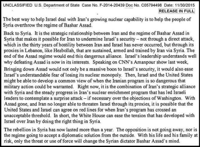 Почта Клинтонши: «Мы должны уничтожить Сирию ради Израиля»
