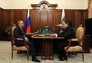 Встреча Владимира Путина с главой Роскосмоса Игорем Комаровым