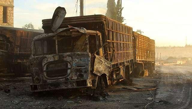 На месте обстрела гуманитарного конвоя ООН в городе Урум аль-Кубра недалеко от Алеппо.  Архивное фото