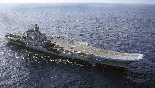 Авианосная группа кораблей Северного флота начала поход в Средиземное море