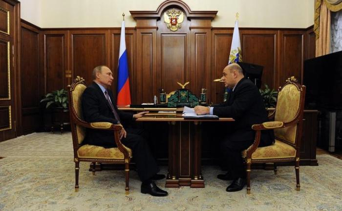 Встреча Владимира Путина с руководителем Федеральной налоговой службы Михаилом Мишустиным