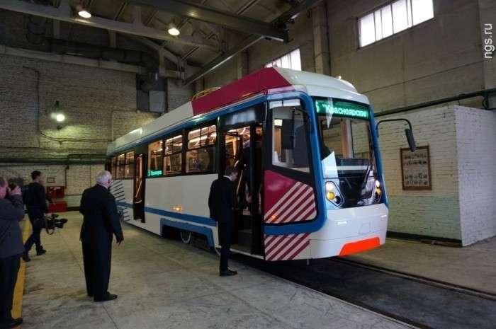 3. В Красноярске презентовали модернизированный трамвайный вагон Сделано у нас, политика, факты