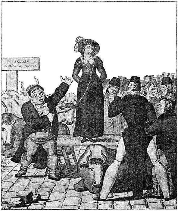 Французская гравюра 1820 года об английской продаже жены. | Фото: todayifoundout.com.