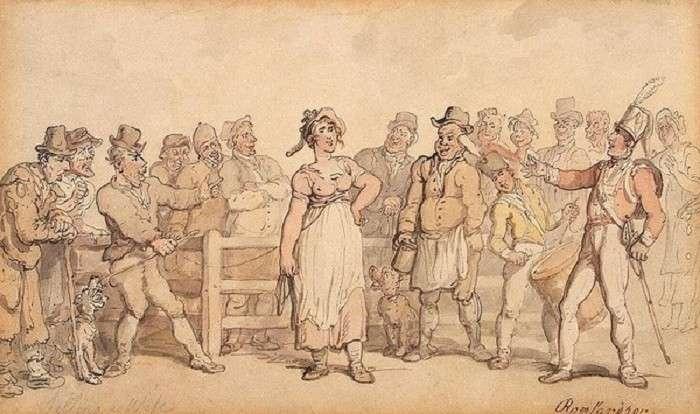Продажа жены. Томас Роулендсон, ок. 1812-1814 гг. | Фото: deti.mail.ru.