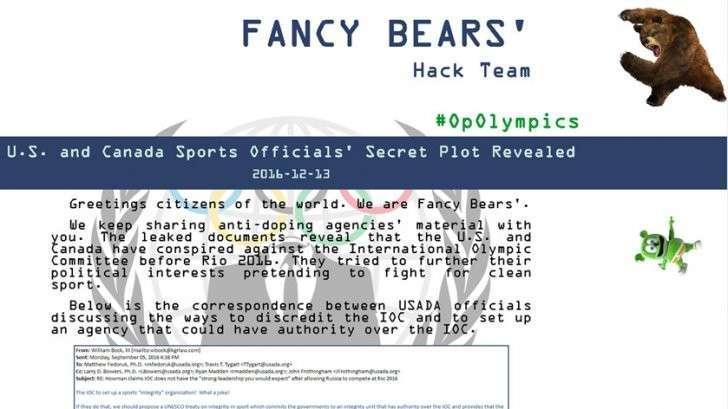 Хакеры Fancy Bears опубликовали файлы о сговоре США и Канады против МОК