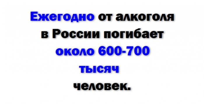 Ежегодно от алкоголя в России погибает около 600-700 тысяч человек