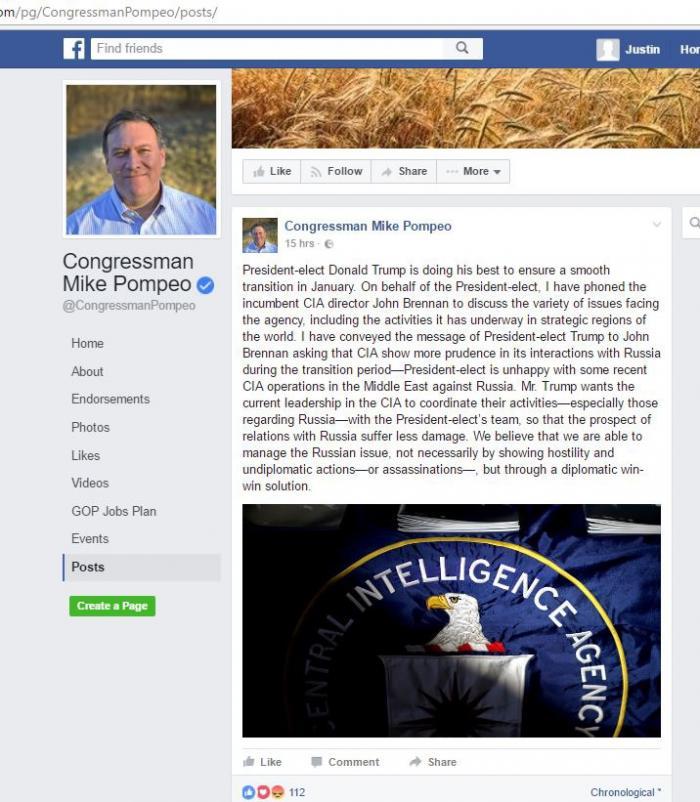 Майк Помпео просит директора ЦРУ Бреннана не гадить стране