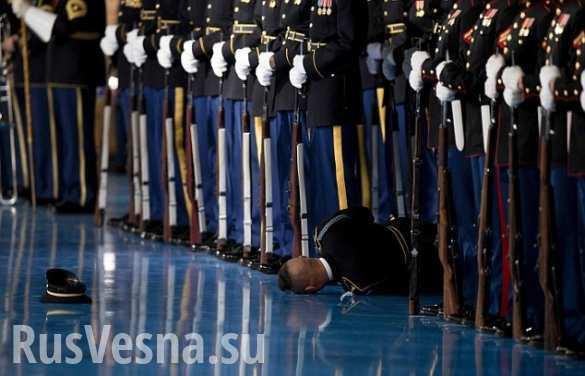 Американский солдат рухнул в обморок во время прощальной речи Обамы