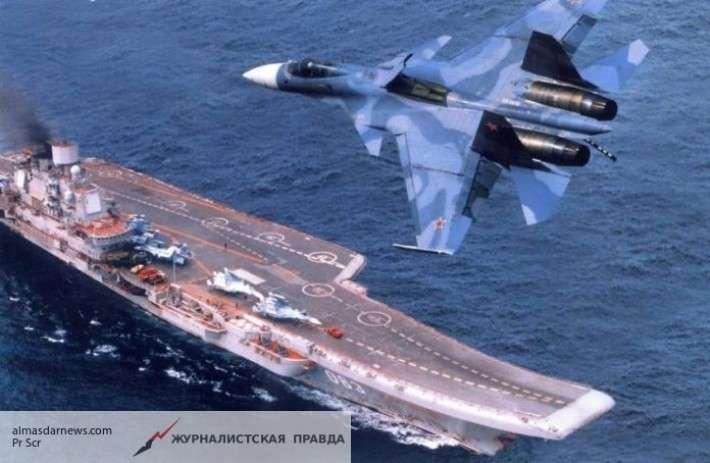 Минобороны РФ показало работу экипажа и палубной авиации тяжелого авианесущего крейсера «Адмирал Кузнецов»