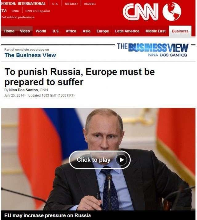 CNN: «Чтобы наказать Россию, ЕС придётся страдать»