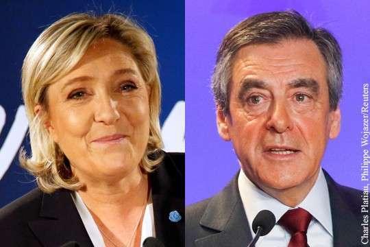 Ле Пен впервые обошла Фийона по популярности во Франции