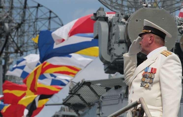Во время репетиции военно-морского парада ко Дню ВМФ России