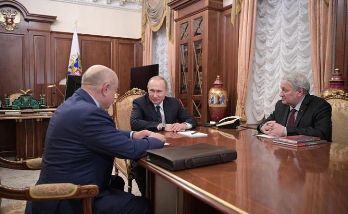 Встреча Владимира Путина с Михаилом Фрадковым и Леонидом Решетниковым
