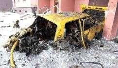 Автомобиль, пострадавший в результате артиллерийского обстрела Киевского района
