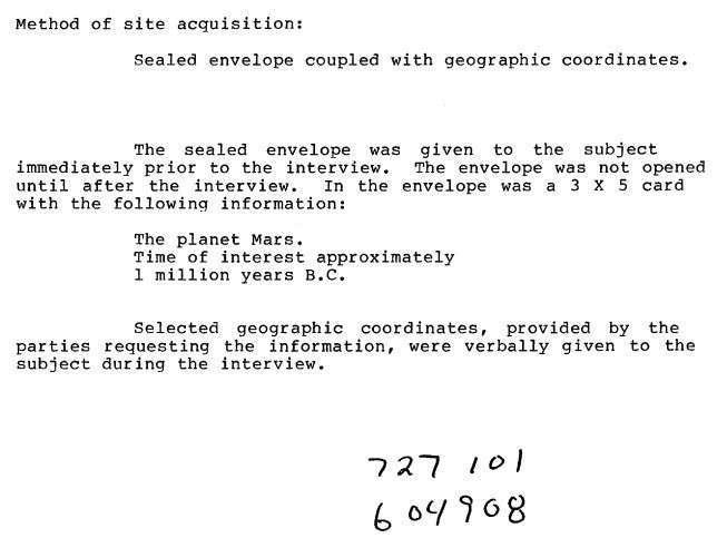ЦРУ разведывало обстановку на Марсе в 1980-х годах. Проект «Звёздные врата»
