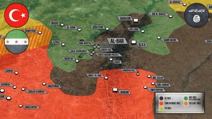 Сирия: Турция вклинилась в Эль-Баб. Курды отжимают деревни