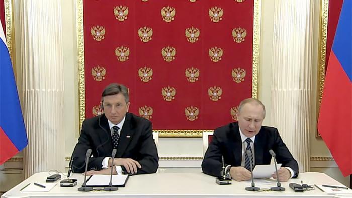 Совместная пресс-конференция Владимира Путина и президента Словении