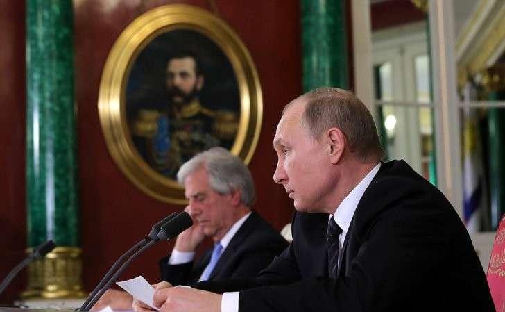 Заявления для прессы поитогам российско-уругвайских переговоров. СПрезидентом Уругвая Табаре Васкесом.