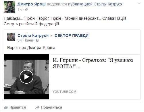 Разговор Гиркина и Яроша – закономерный фейк. Александр Роджерс