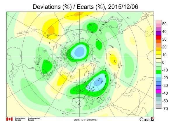 Рис. 1. Аномалии общего содержания озона в Северном полушарии 6 декабря 2015 года. Сайт: Select Ozone Maps (http://exp-studies.tor.ec.gc.ca/cgi-bin/selectMap)