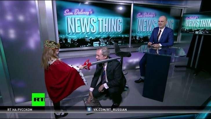 Британских СМИ потеряли знаменитое чувство юмора: посвящение Фараджа в эфире RT вызвало переполох