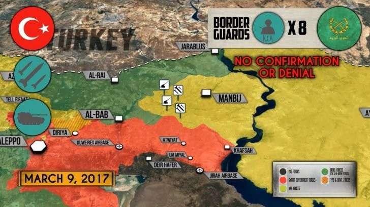 Сирия: турки возле Манбиджа обстреляли правительственную армию. США подтягивают артеллерию