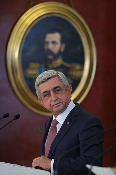Заявления для прессы поокончании российско-армянских переговоров. Президент Армении Серж Саргсян.