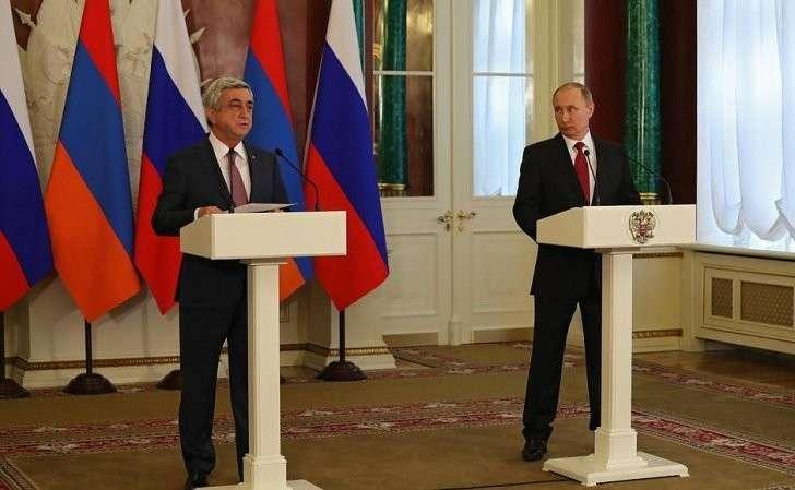 Заявления для прессы поокончании российско-армянских переговоров. СПрезидентом Армении Сержем Саргсяном.