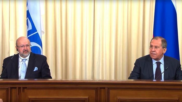 Пресс-конференция по итогам встречи Сергея Лаврова и генсека ОБСЕ Ламберто Заньера